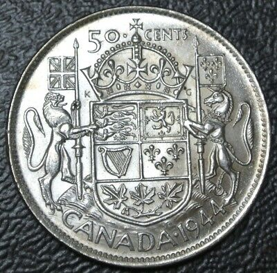 OLD CANADIAN COIN 1944 - 50 CENTS HALF DOLLAR - .800 SILVER - George VI - Nice