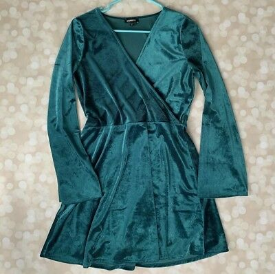 1040e61d57 Velvet Surplice Fit And Flare Deep Teal Green Blue V Neck Dress Express M