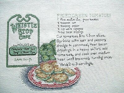 "Finished unframed Counted Cross Stitch Fried Green Tomatoes 11"" x 9"""