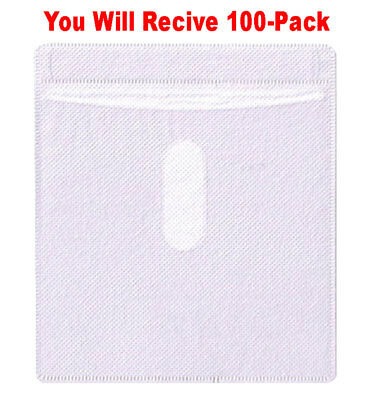 100x Double-Sided Plastic CD/DVD Sleeve Thumb Cut Disc Case Non-Woven Material