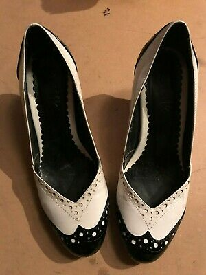 6148811880c DUNE SHOE BLACK Brown Brogue Leather cone wooden heel lace up 6 39 ...