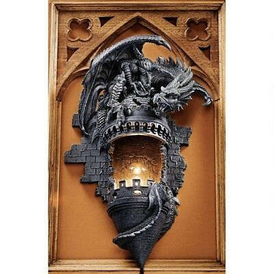 "Ancient Medieval Dragon's Castle Illuminated 17"" Wall Sculpture Lamp Sconce"