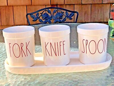 NEW Rae Dunn Utensil Holder Large RED Letters Fork Knife Spoon Ceramic with Tray