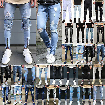 Mens Ripped Jeans Super Stretch Skinny Fit Denim Pants Destroyed Frayed Trousers