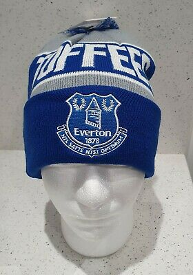 Official Everton Adults Toffees bobble Hat Royal and Grey - Great Gift Idea!