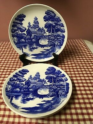 3 Vintage Nasco Hand Painted Japan Lakeview Blue & White Dinner Plate 9""