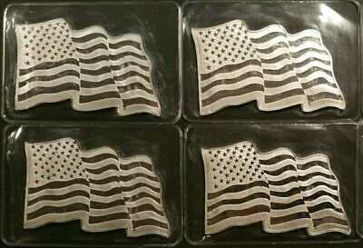 Lot of Four 1 oz. Sunshine Minting American Flag .999 Silver Bars