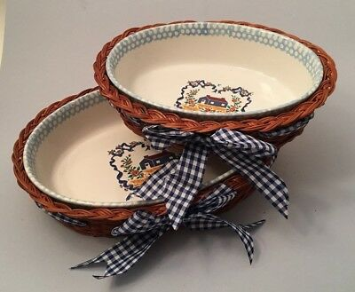 Set of 2 Teamson Casserole Dishes 'Country Home' with Wicker Nesting Baskets