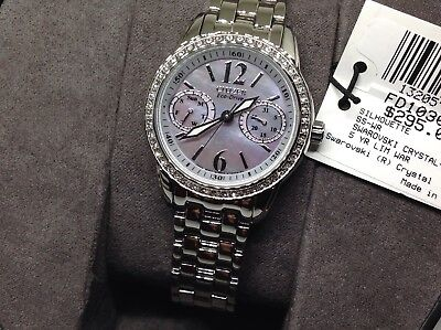 Citizen Eco Drive Mother Of Pearl Swarovski Crystal Fd1030-56Y Lady Silver Watch