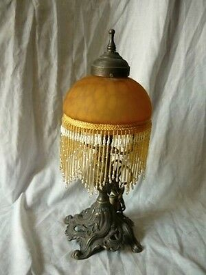 Lamp table brass with glass beads orange