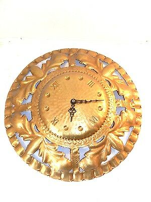 Wall clock brass polished pierced hand quartz movement