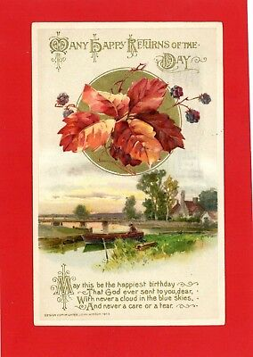 Birthday Vintage Postcard - Beautifully Embossed