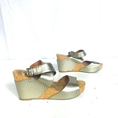 2ad64676d Lucky Brand size 9 Moran Leather Wedge Sandals metallic champagne EUC shoe  women