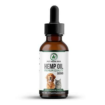 Hemp Oil for Dogs & Cats 500mg Anxiety Relief Hip Joint Health Organic Extract