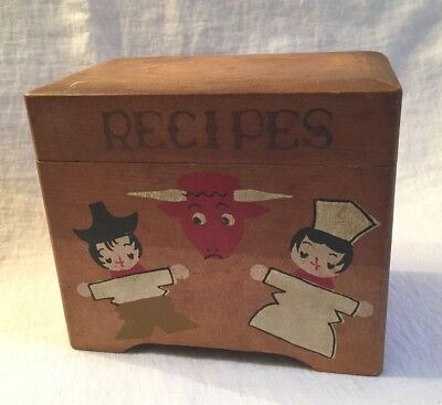 Vintage Wooden Recipe Box w/ Japanese Chefs & Red Bull w/ Horns, Made in Japan