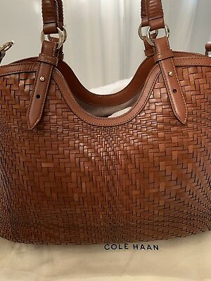 7fb192ee2edb COLE HAAN GENEVIEVE Woven Leather Tote Gently Used Tags & Dust bag Included
