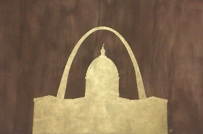 Painting Of Saint louis Arch and Old Court House 2ft x 3ft