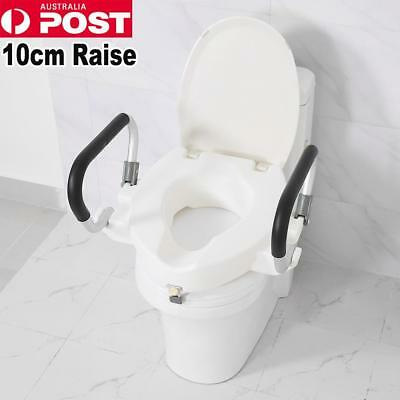 10cm Raised Toilet Seat With Lid Removable Arms For Disability Eldly Pregnant