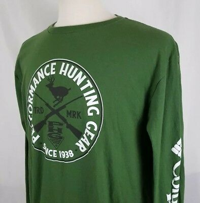 854265b07a1 Columbia PHG Performance Hunting Gear L/S T-Shirt Sz XL Green Deer Buck
