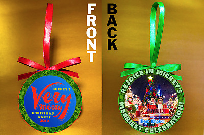 "Disney WDW Mickeys Merry Christmas Party-2019 -3"" Doublesided Ornament-FREE SHIP"
