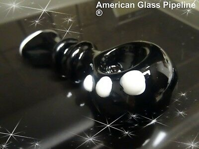 """5 """"  Black  w/ White Knockers Glass Hand Smoking Pipe. Heavy Solid Beauty"""