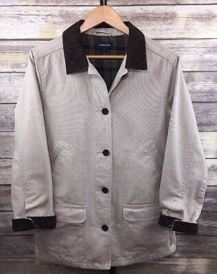 89e6edd758c41 Lands End Sz M Women s Barn Field Coat Jacket Flannel Lined Corduroy Trim  Khaki