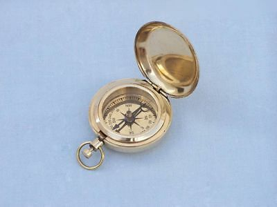 Solid Brass Ship Scout's Push Button Compass - Diameter : 4.50Cm  / Brand New !