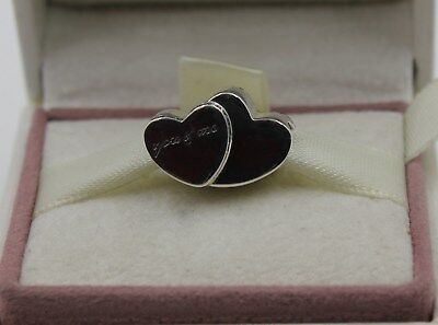 AUTHENTIC PANDORA Silver Two Hearts Charm 796560CZ  #1123