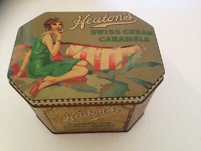 vintage Heatons Swiss cream Caramels Tin, flapper girl, 1920's, 1930's girl