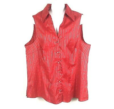 Cato Womens 18 20 Tank Top Blouse Sleeveless Button Down Shirt Red Silver Plus W