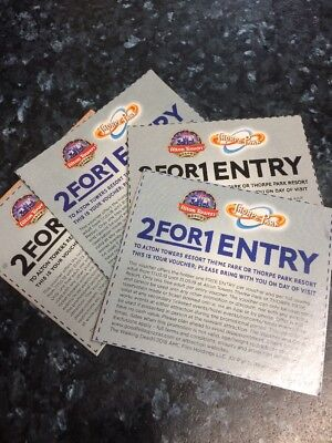 X4 2 FOR 1 Entry ALTON TOWERS or THORPE PARK Tickets