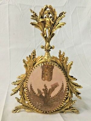 Antique Glass Perfume Cherub Bottle  Ormolu Cast JEWELED Gilt Matson