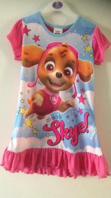 Paw Patrol Nightie Pyjamas Let's Take It To The Skye 2-3 Years New