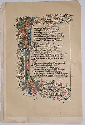 Facsimile Of 15th C Illuminated Manuscript Page From Lydgate's Life Of St Edmund