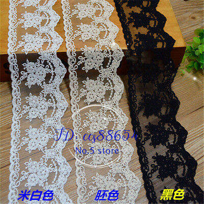 1YD Cotton Lace Edge Trim Ribbon Fabric Embroidery Tulle Mesh Sewing Craft FL144