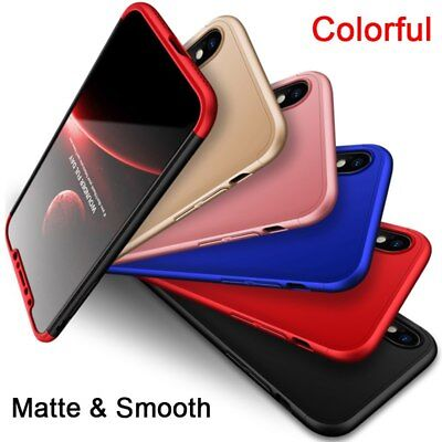 360 Degree Full Cover Case 3 in 1 for iPhone X Xs XR Max Matte Hard Smooth