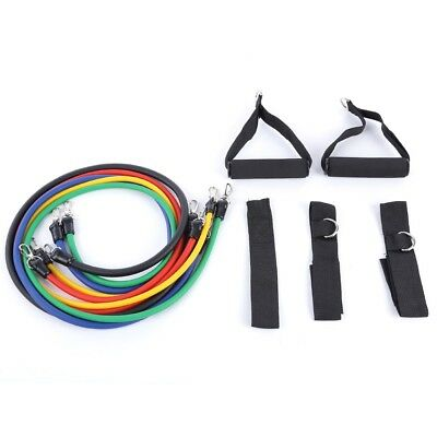 Resistance Bands Set 11pcs Exercise Yoga Fitness Workout Training Strength Tubes