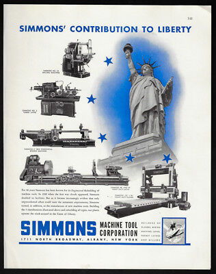 1942 Vintage Print Ad SIMMONS machine tool statue of liberty factory
