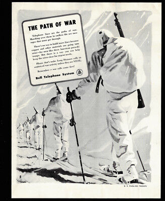 1942 Vintage Print Ad BELL TELEPHONE SYSTEM path of war wwii snow walking winter