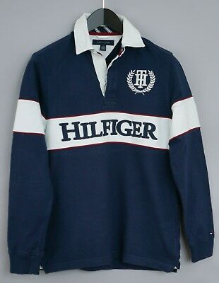 a2653d6fc010 Hommes Tommy Hilfiger Maillot Rugby Col Polo Manches Longues Coton XS XJM660