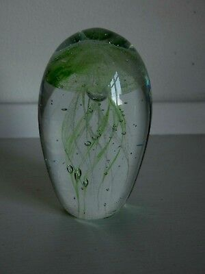 Small Glass Jellyfish Paperweight Ornament - 9 cm Tall - Green