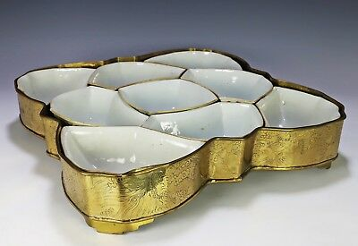 Impressive Large and Complete Antique Chinese Sweet Meat Seat Porcelain Bowls