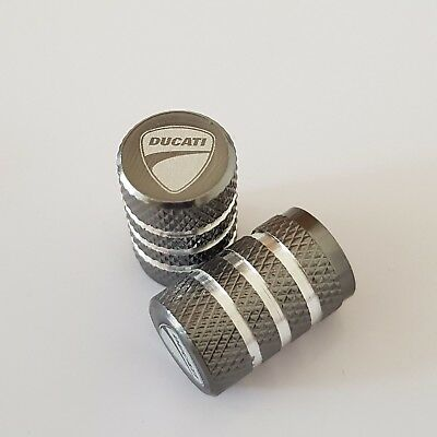 DUCATI GREY Wheel Valves Tire Dust Caps universal Fit Fits all Bikes Set of 2