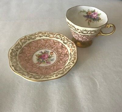 Antique Teacup & Saucer- Pink, Floral, Gold- Perfect Condition- Vintage