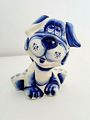 Cute Puppy Dog Year Gzhel Figurine Hand Painted in Russia Porcelain Гжель
