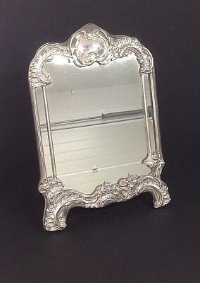 Large Edwardian Hm Silver Photo Mirror Frame - London 1908 - Art Nouveau Superb!
