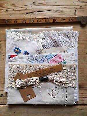 Vintage Antique Hand Stitched Quilt Lace Embroidered Fabric Pieces craft art 11