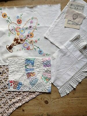 Vintage Antique Hand Stitched Quilt Lace Embroidered Fabric Pieces craft art 10