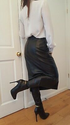 Vintage 80s mistress long real leather skirt,wear with thigh boots ,heels 8-10uk