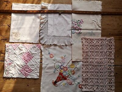 Vintage Antique Hand Stitched Quilt Lace Embroidered Fabric Pieces craft art 9
